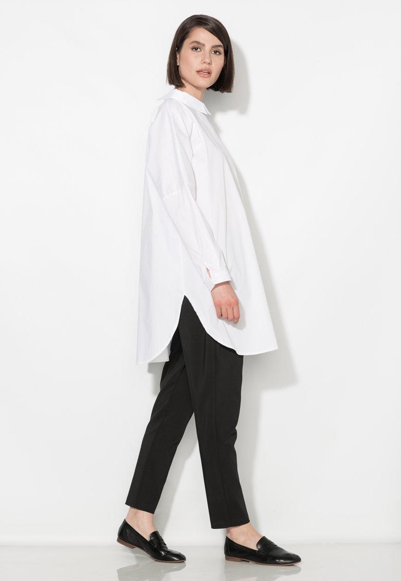 Zee Lane Collection Camasa alba supradimensionata cu nasturi pe partea din spate