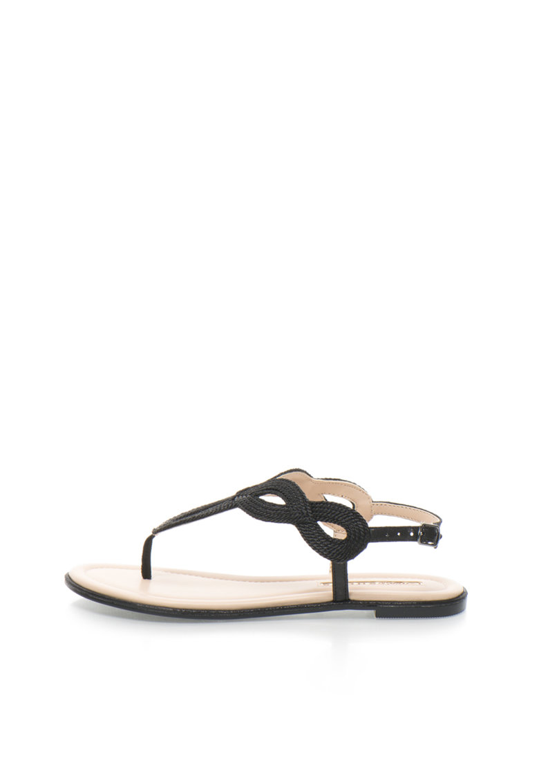 Sandale negre cu bareta separatoare si aspect impletit