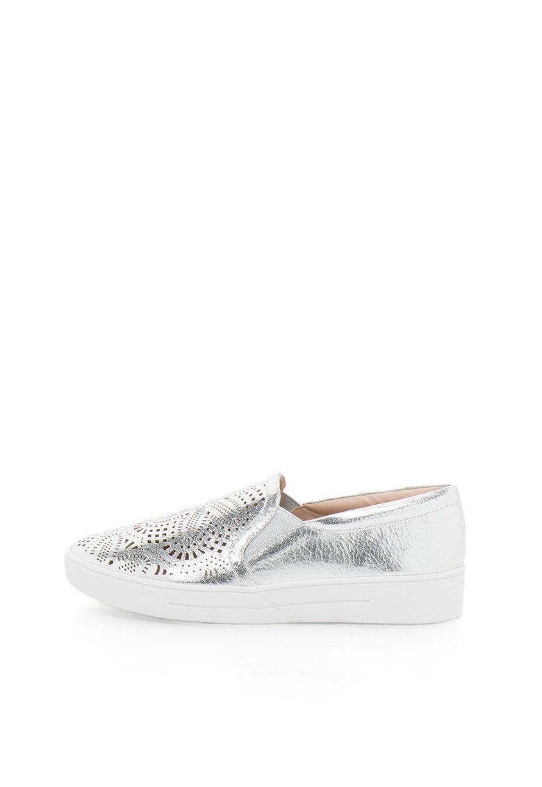 Buffalo Pantofi slip-on argintii cu decupaje decorative