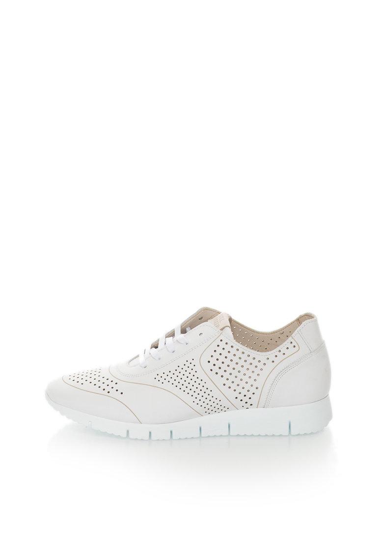 Pantofi sport albi de piele cu detalii perforate