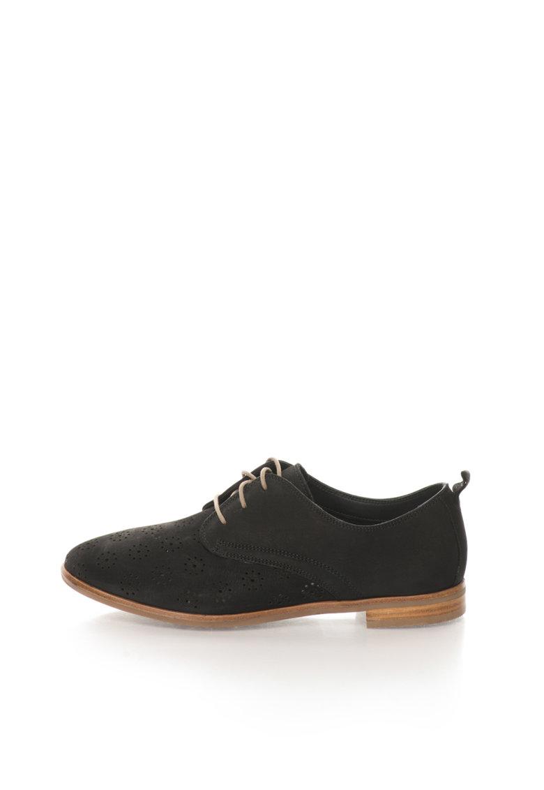 Clarks Pantofi Oxford negri de piele nabuc Alania Posey