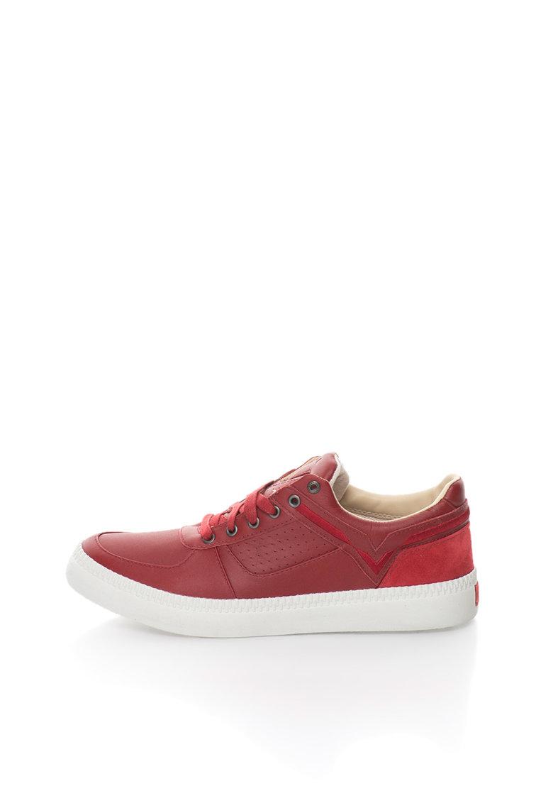 Diesel Pantofi sport rosii de piele si piele intoarsa Spaark