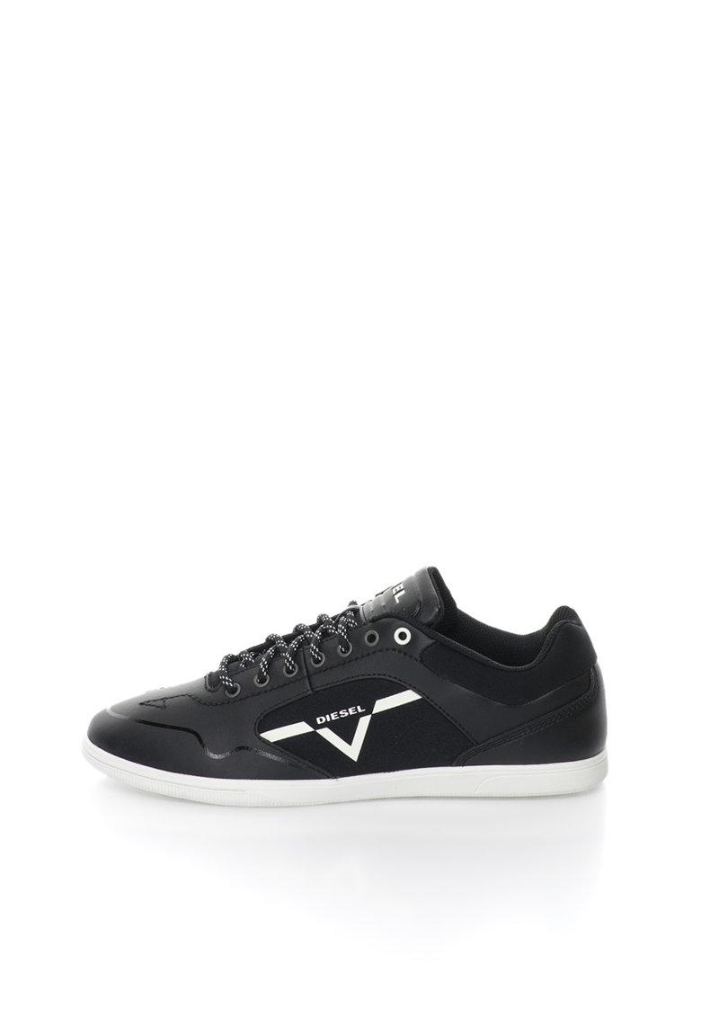Pantofi sport negri cu insertii de piele Aarrow