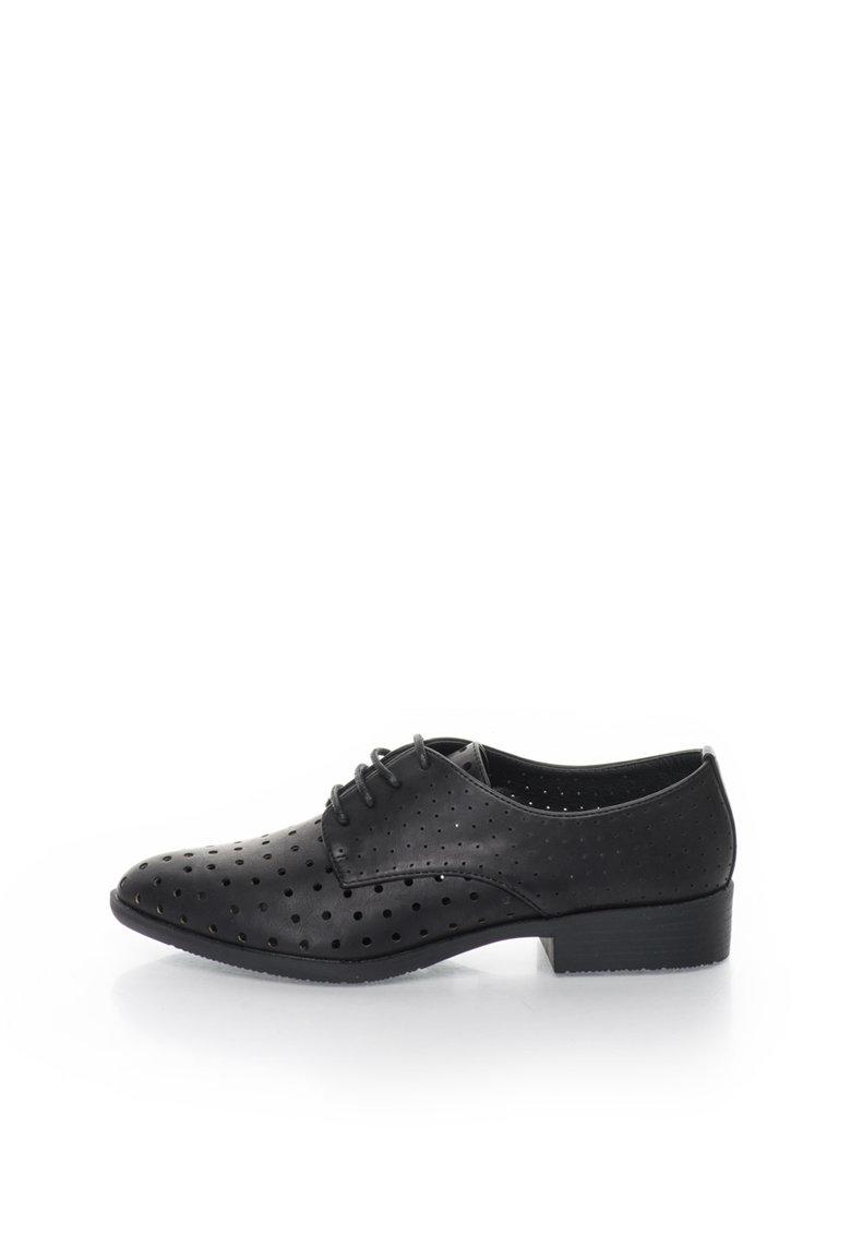Francesco Milano Pantofi negri cu model perforat