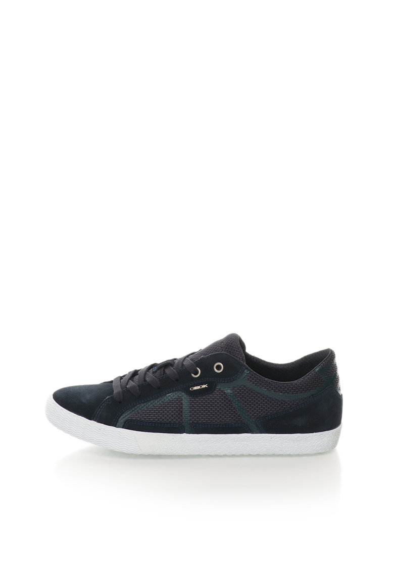 Geox Pantofi sport bleumarin inchis din plasa si piele intoarsa Smart