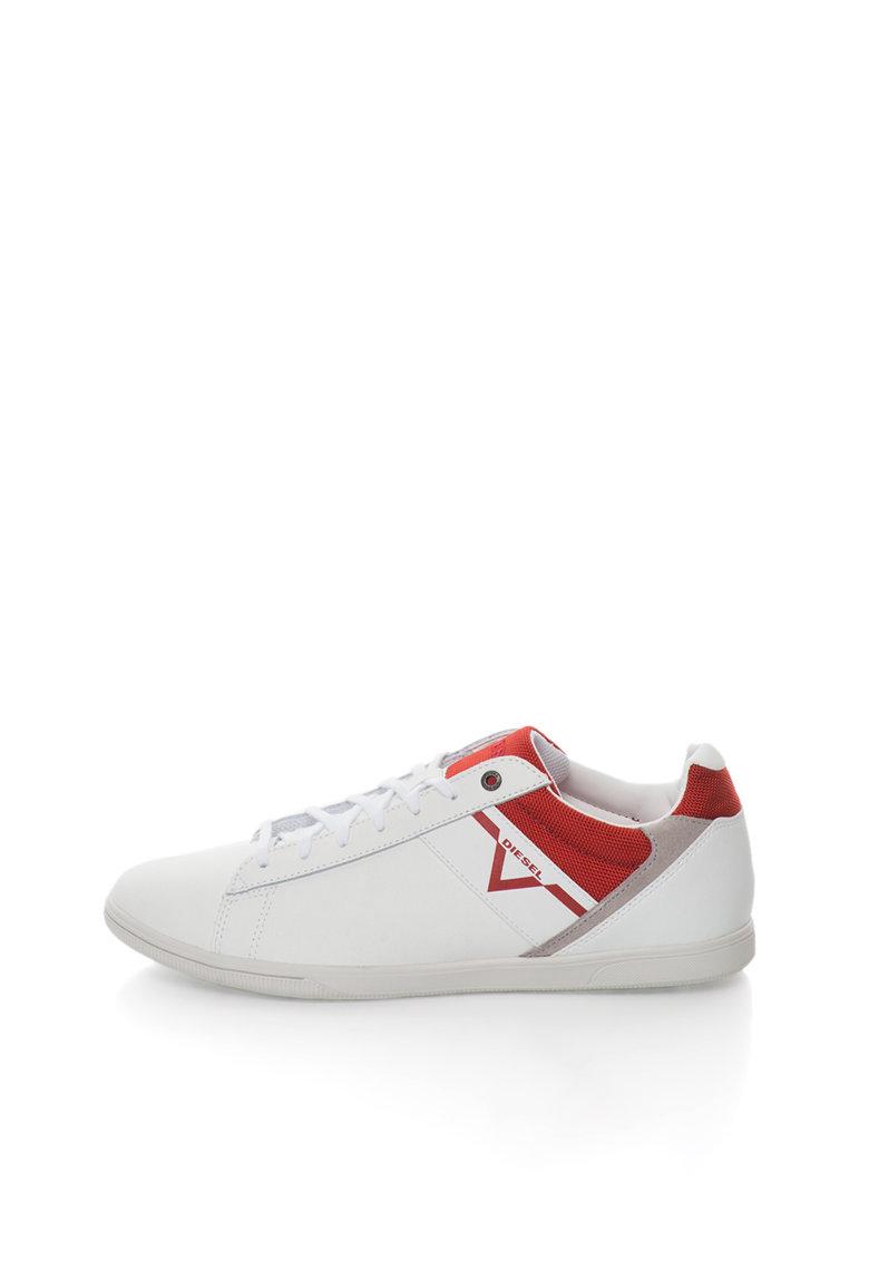 Diesel Pantofi sport albi cu garnituri rosii si gri Judzy