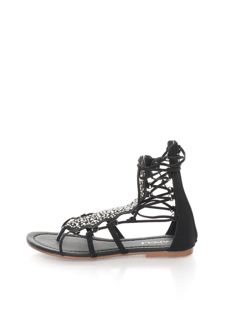Oakoui – Sandale gladiator negre cu strasuri Catia CATIA-1-NERO