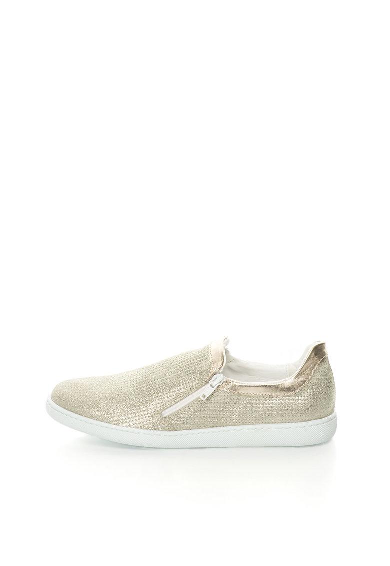 Pantofi slip-on aurii stralucitori de piele de la Oakoui