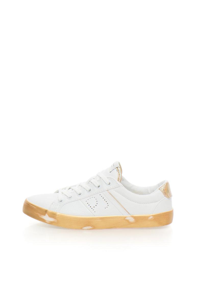Pepe Jeans London Pantofi sport alb cu auriu Clinton