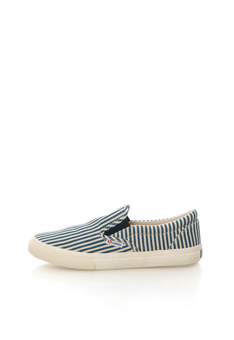 Superga Pantofi slip-on alb cu bleumarin in dungi Cotstripe