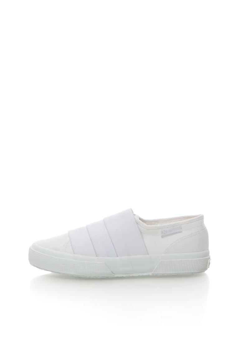 Pantofi slip-on albi cu benzi elastice de la Superga
