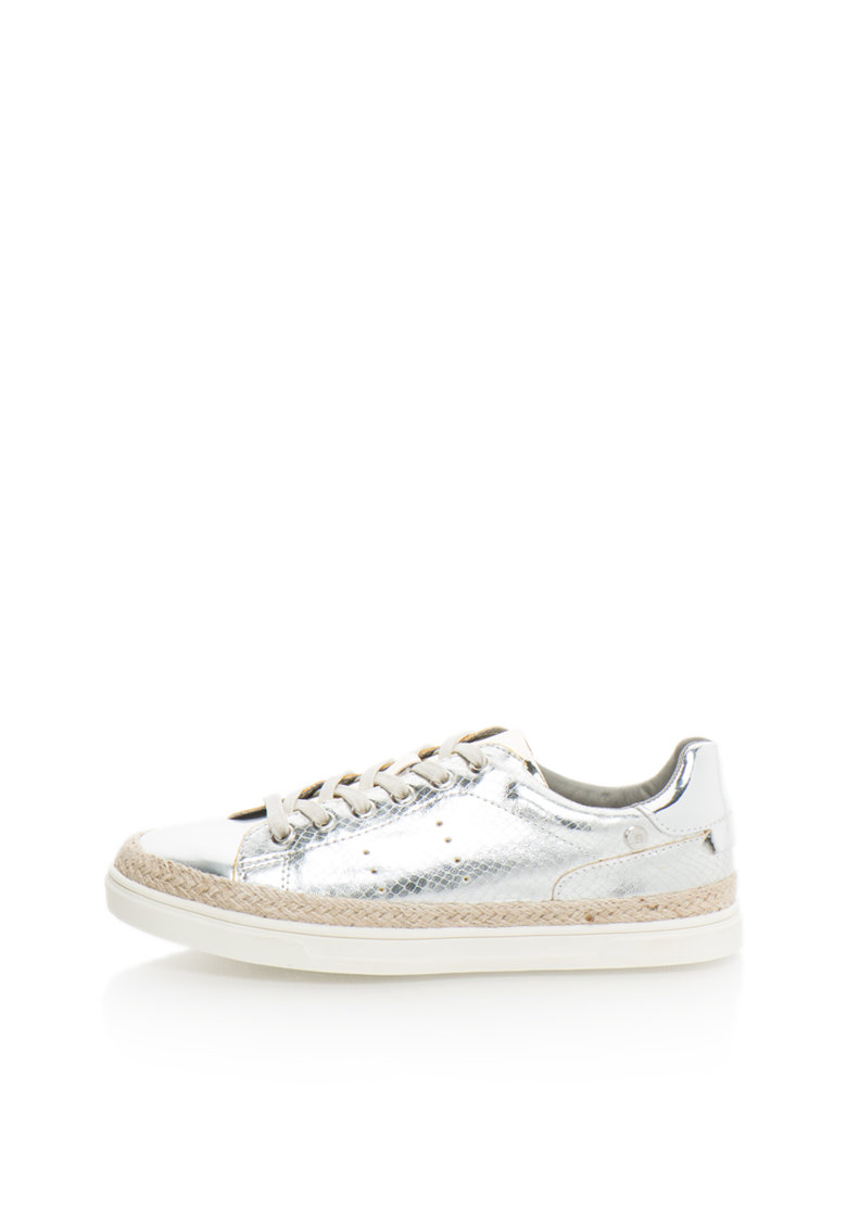 XTI Pantofi sport argintii cu insertii cu model reptila