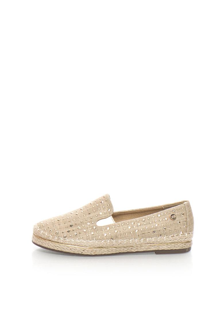 XTI Pantofi slip-on maro nisip decorati cu tinte aurii