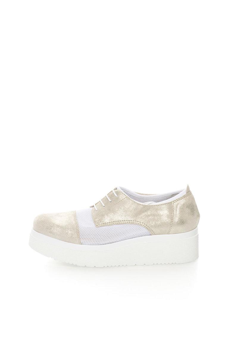 Zee Lane Pantofi wedge auriu deschis cu alb de piele si plasa