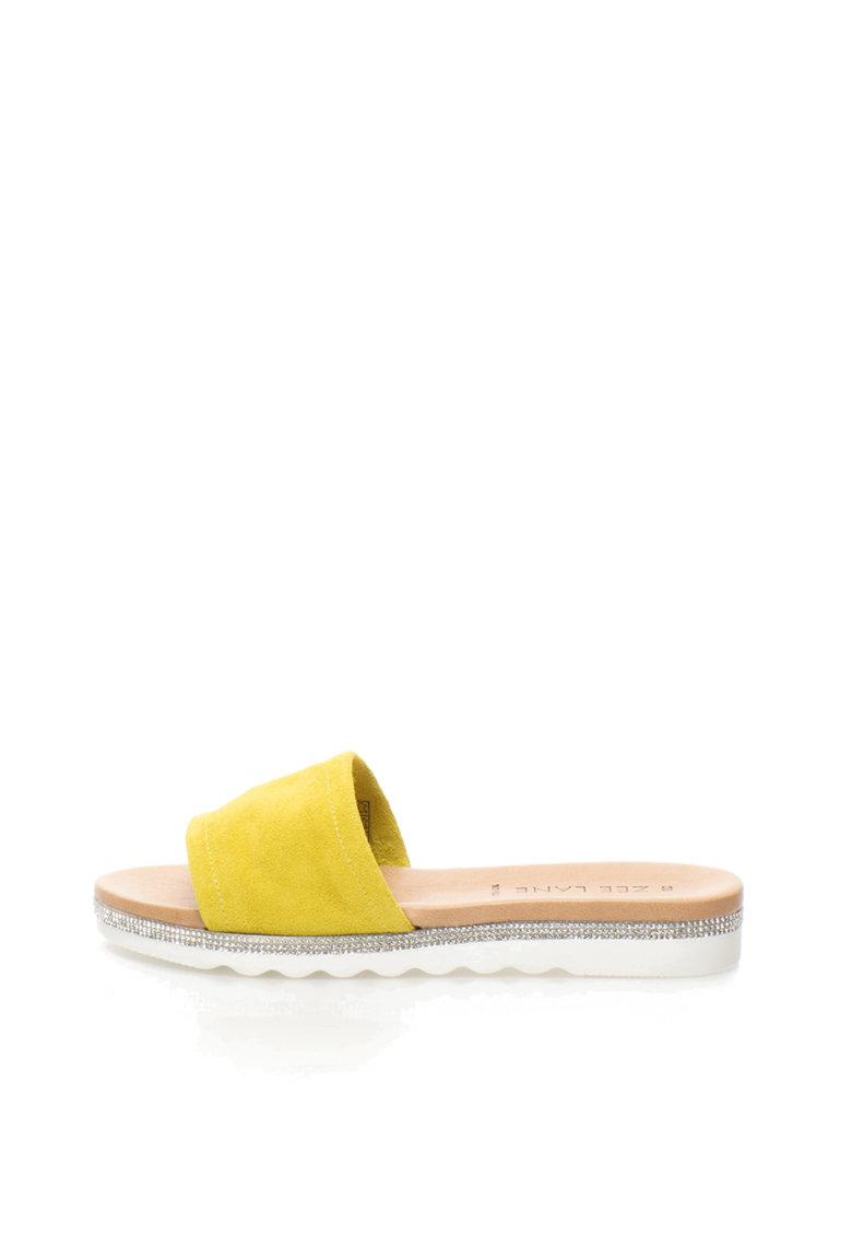 Zee Lane Papuci galben citrine de piele intoarsa