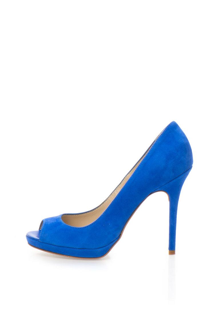 Zee Lane Collection Pantofi albastru royal de piele intoarsa cu varf decupat