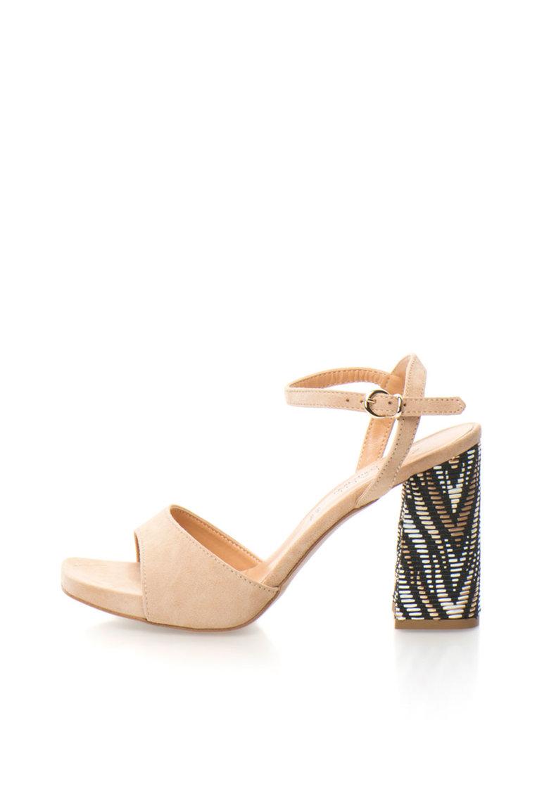 Zee Lane Collection Sandale bej de piele intoarsa cu toc masiv