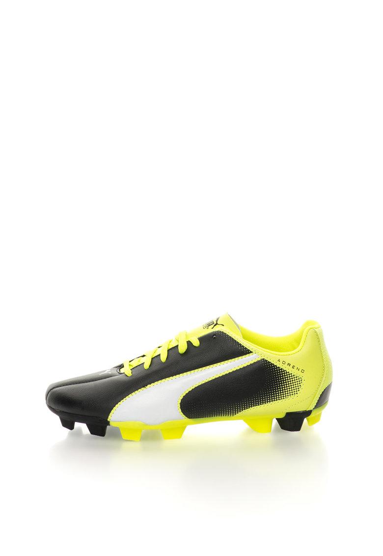 Pantofi pentru fotbal negru cu verde lime Adreno de la Puma