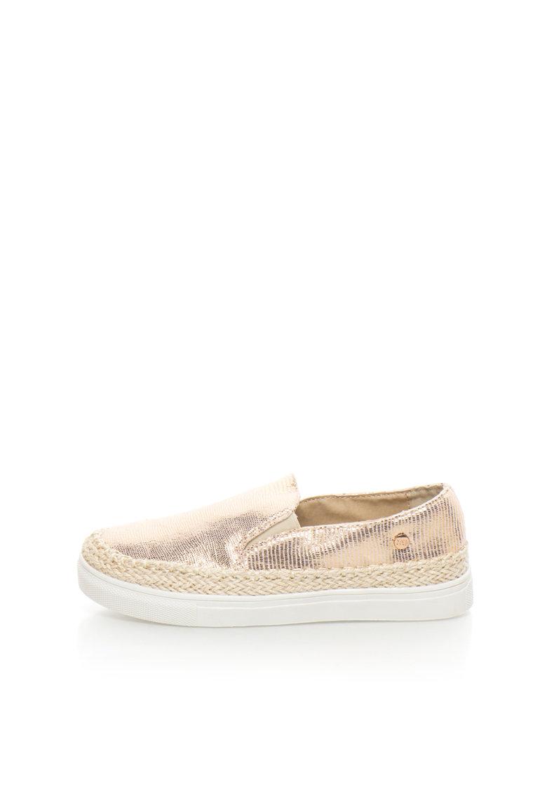 XTI Pantofi slip-on roz pal si auriu cu detaliu impletit