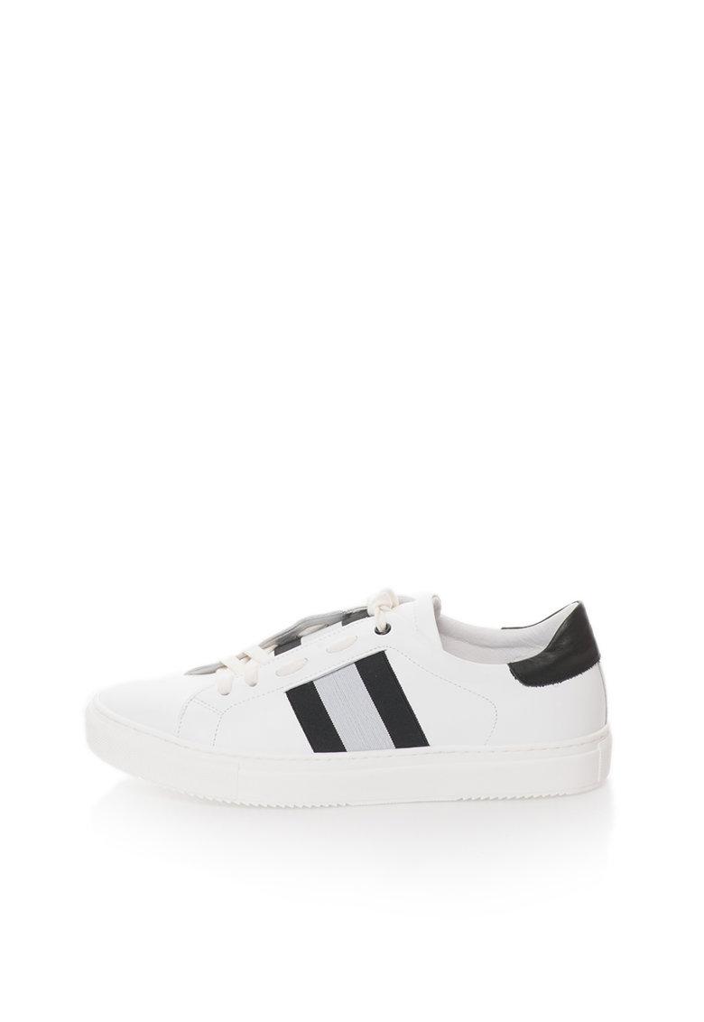 Zee Lane Pantofi sport albi de piele cu garnituri negre