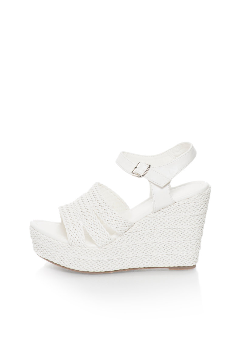 Oakoui Sandale wedge albe cu design impletit