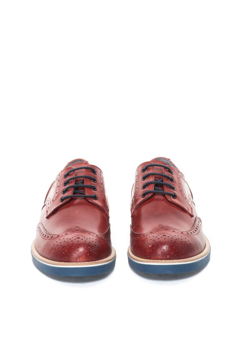 Pantofi brogue de piele rosu inchis de la Zee Lane