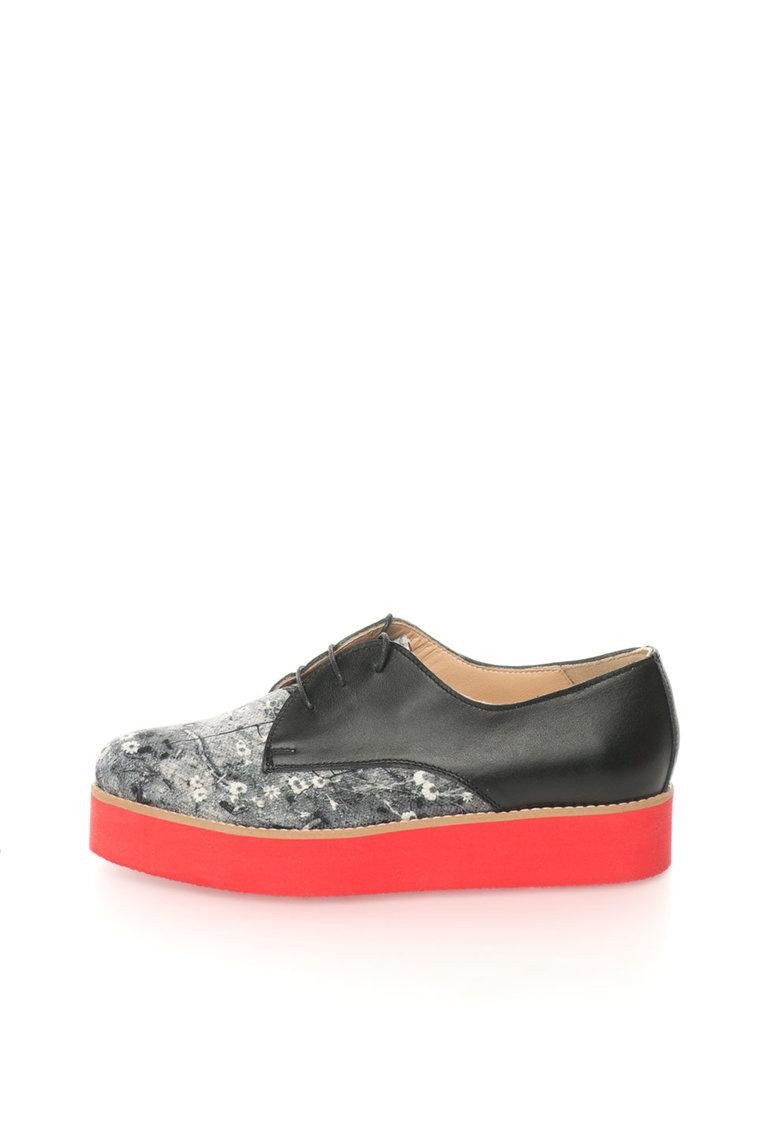 Mihaela Glavan Pantofi flatform negru si gri cu model floral