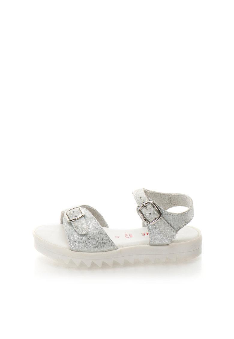 Sandale argintii de piele cu talpa aderenta Aurora