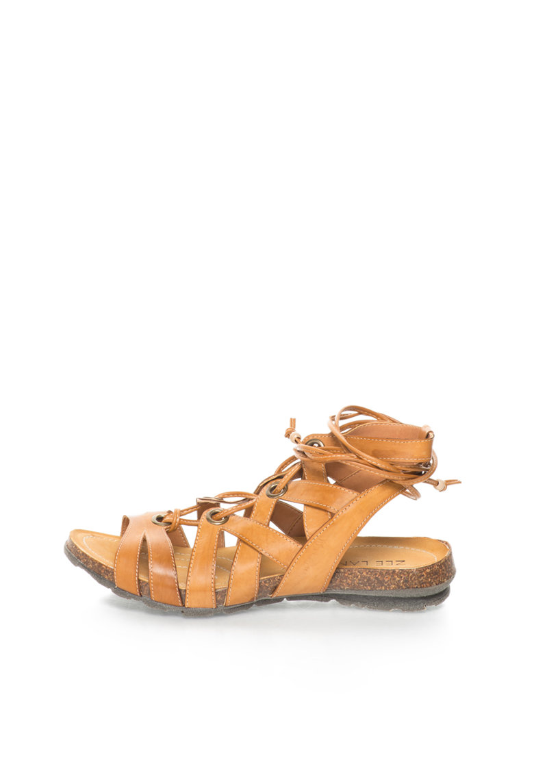 Sandale maro coniac de piele cu bareta pe glezna