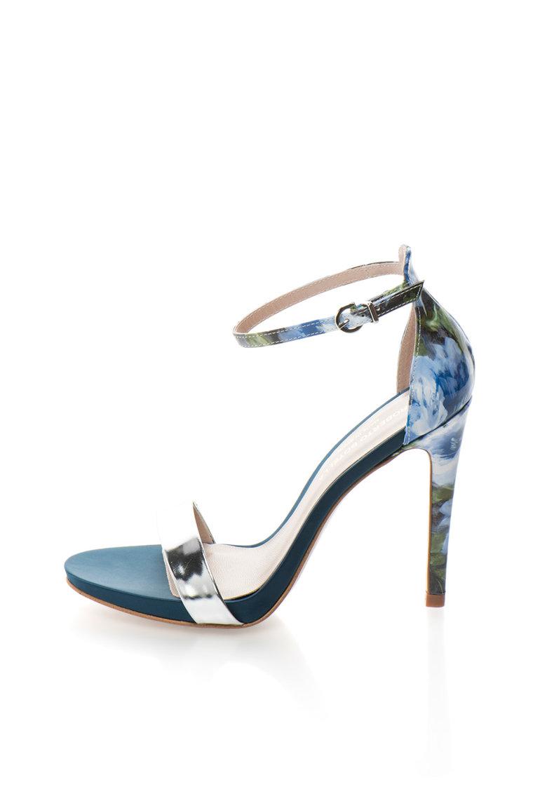 Sandale argintiu cu doua nuante de albastru si toc inalt