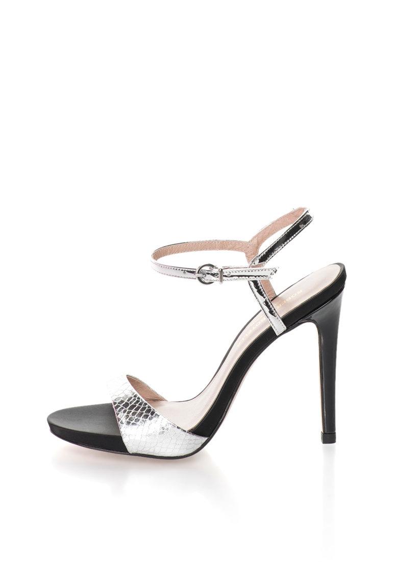 Sandale argintii cu toc inalt