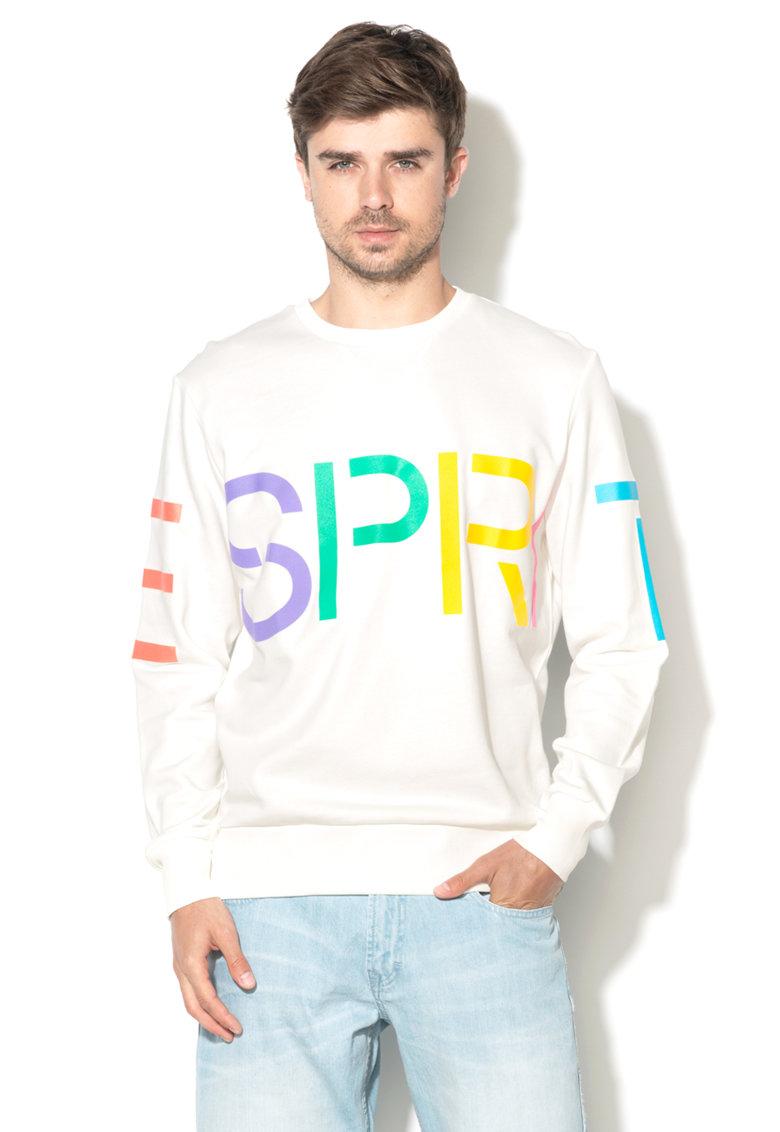 Esprit Bluza sport alba cu imprimeu text