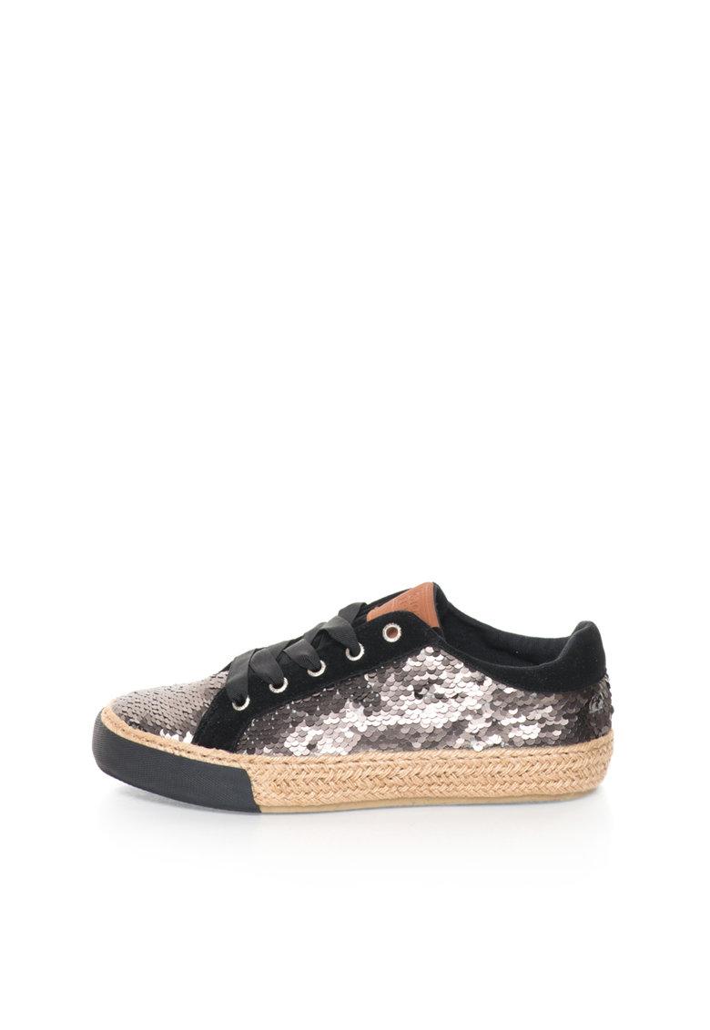Gioseppo Pantofi sport argintiu inchis cu paiete Halia