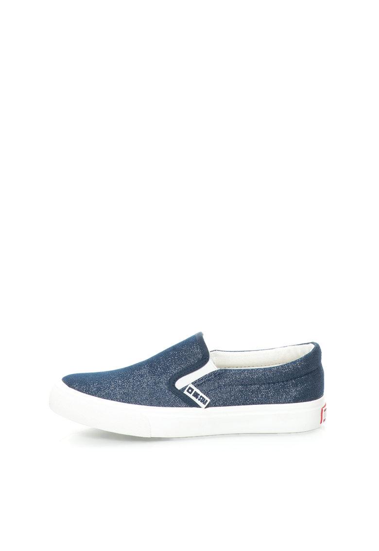 Pantofi slip-on bleumarin cu accente stralucitoare