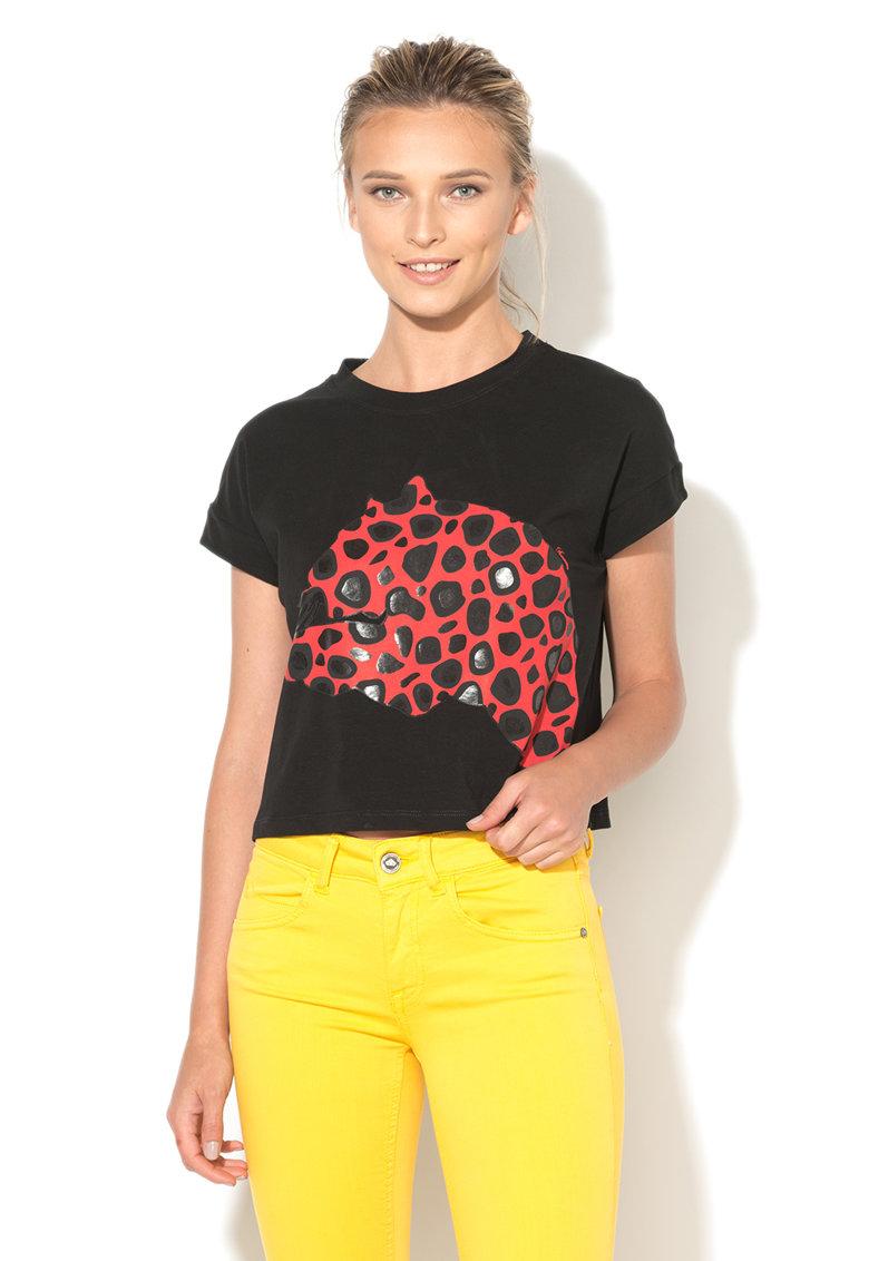 Fornarina Tricou crop negru Leopard
