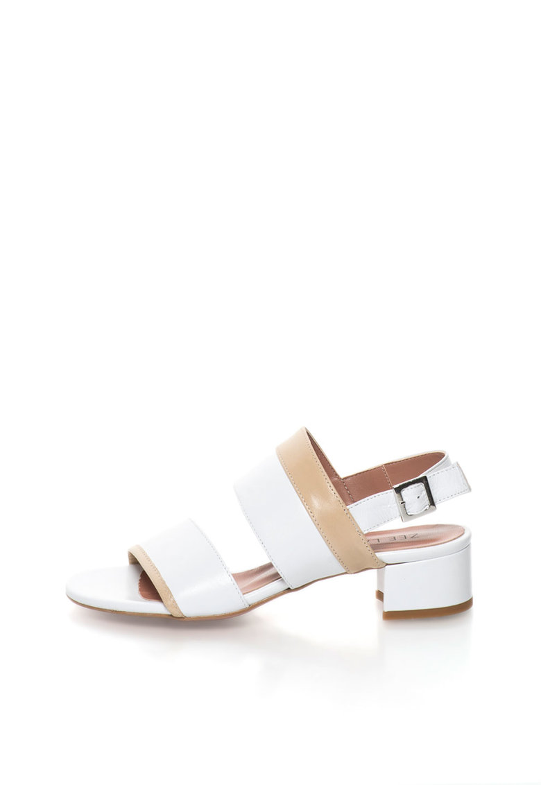 Sandale alb cu bej de piele Candy