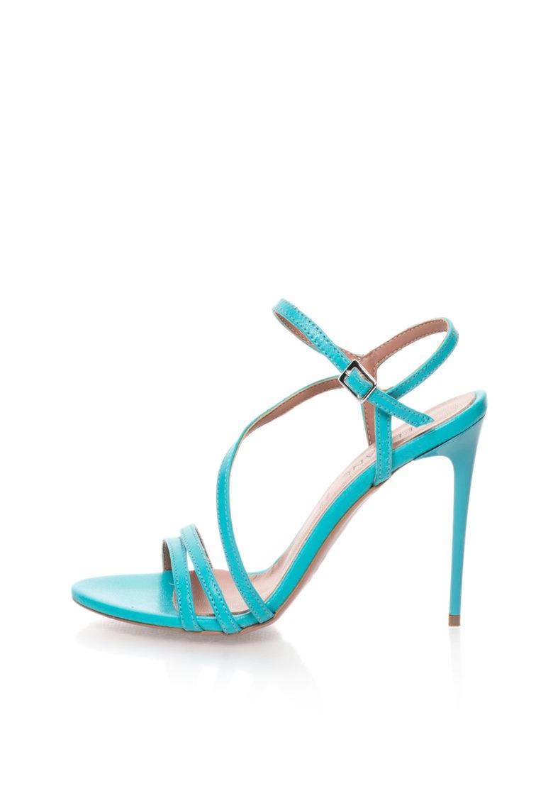 Zee Lane Sandale stiletto albastru aqua de piele cu barete Silvia
