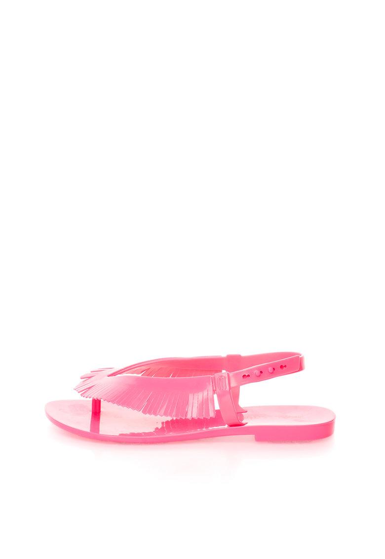 Sandale flip-flop roz neon cauciucate de la Melissa