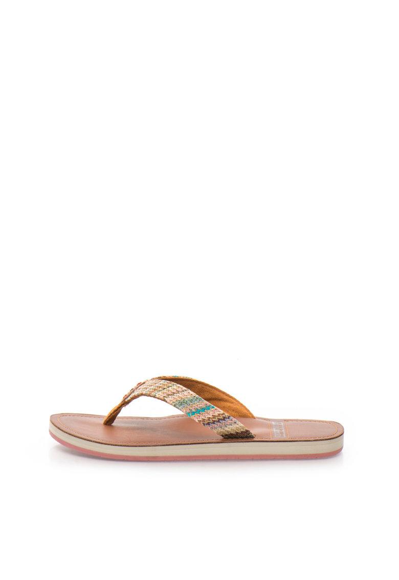 Papuci flip-flop multicolori cu design tesut Ariel