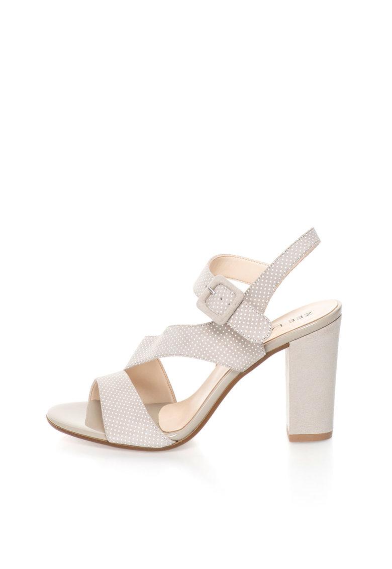 Sandale de piele intoarsa bej cu buline albe