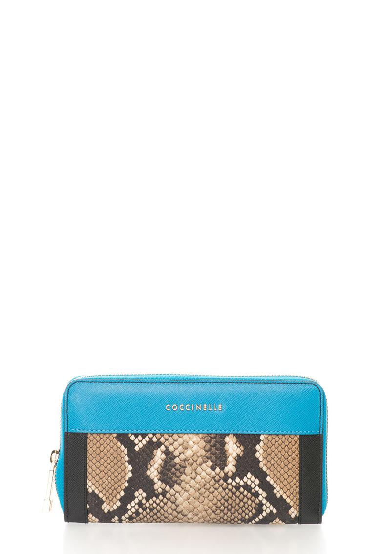COCCINELLE Portofel acordeon albastru cu maro de piele Colorfull