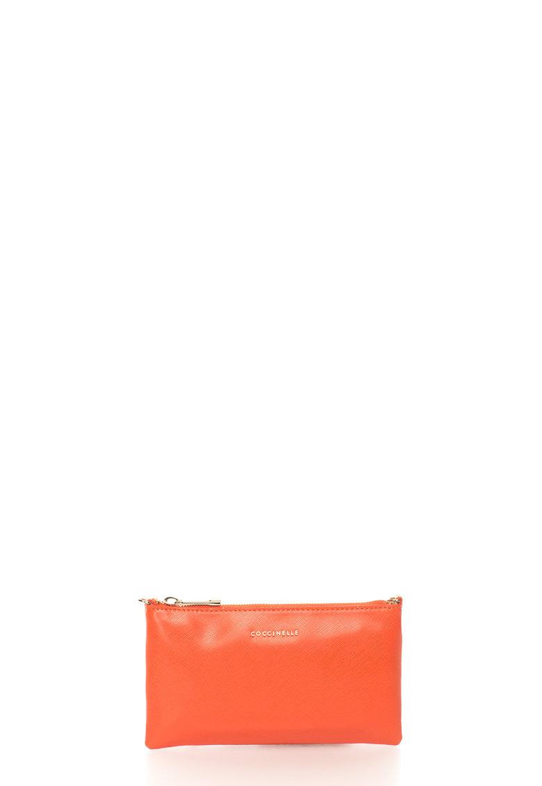 COCCINELLE Geanta plic rosu vermillion de piele saffiano cu bareta