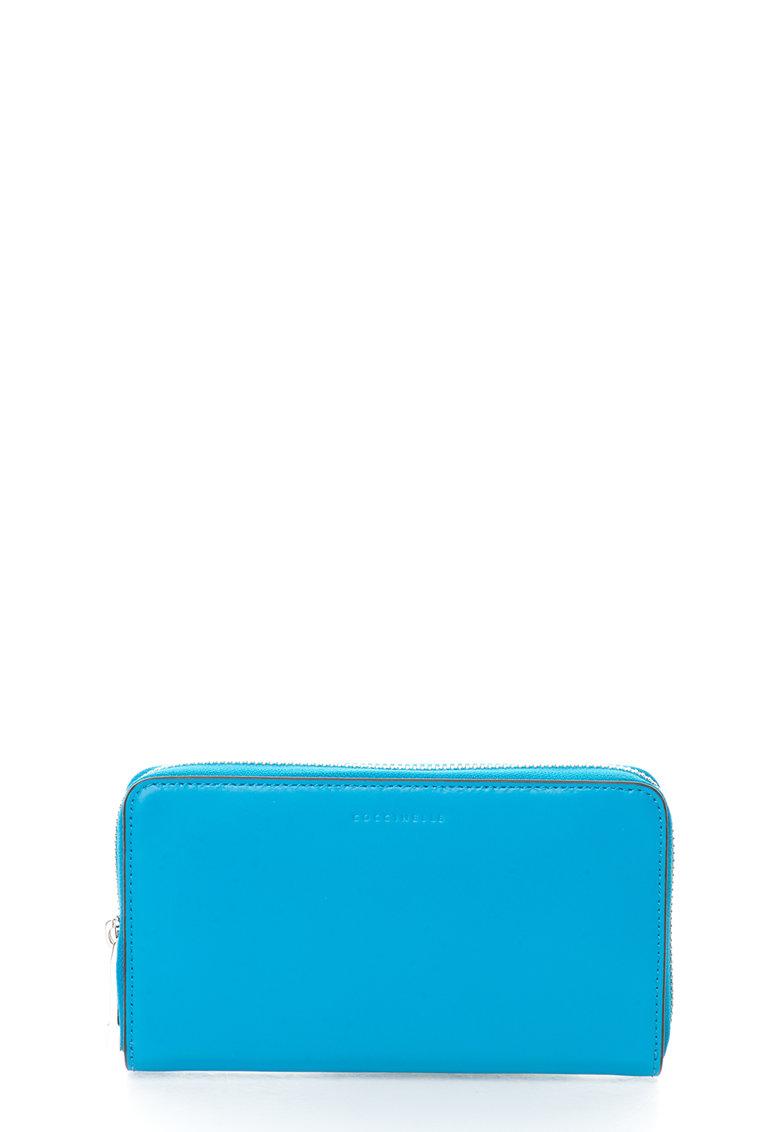 COCCINELLE Portofel albastru de piele cu fermoar