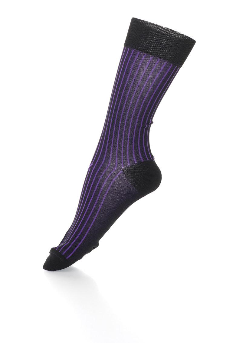 Emporio Armani Sosete negru cu violet in dungi