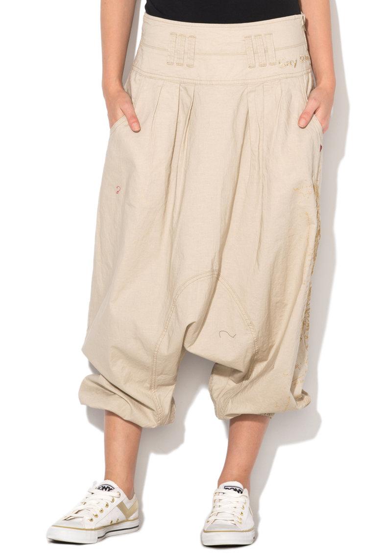 Desigual Pantaloni harem bej cu fluturi brodati