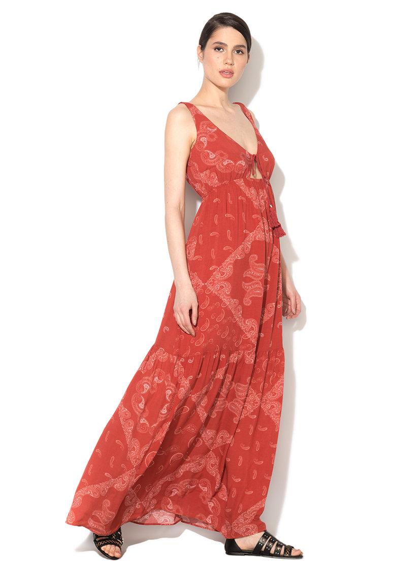 Rochie maxi rosu caramiziu cu imprimeu paisley de la GUESS JEANS