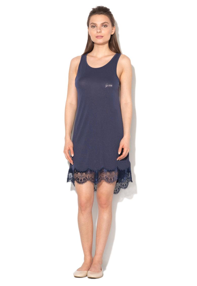 Camasa de noapte bleumarin cu garnituri din dantela de la GUESS