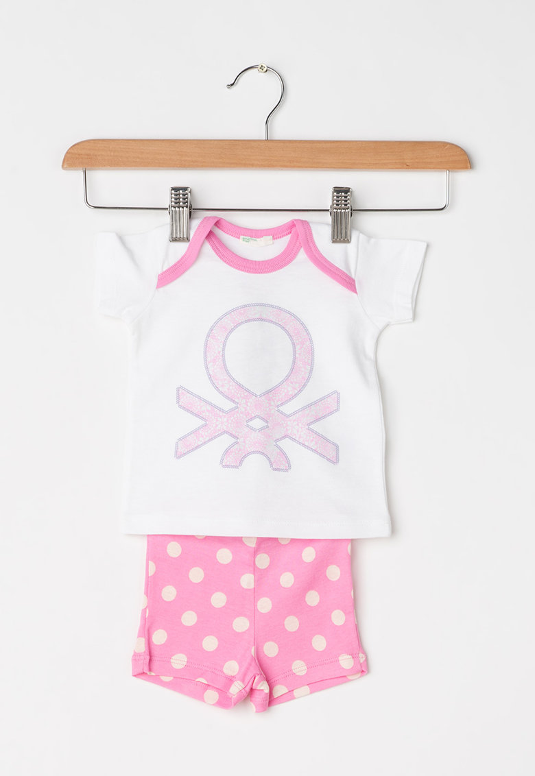 Undercolors of Benetton Pijama alb cu roz si buline