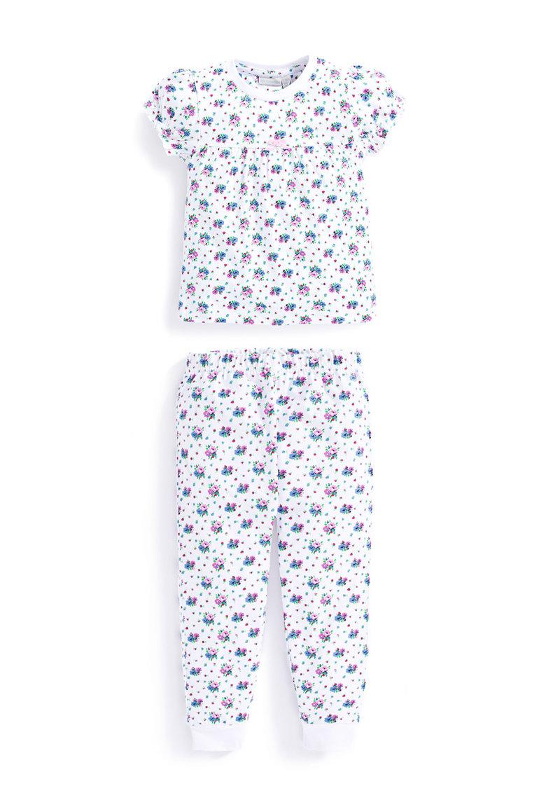 Jojo Maman Bebe Pijama alba cu imprimeu floral
