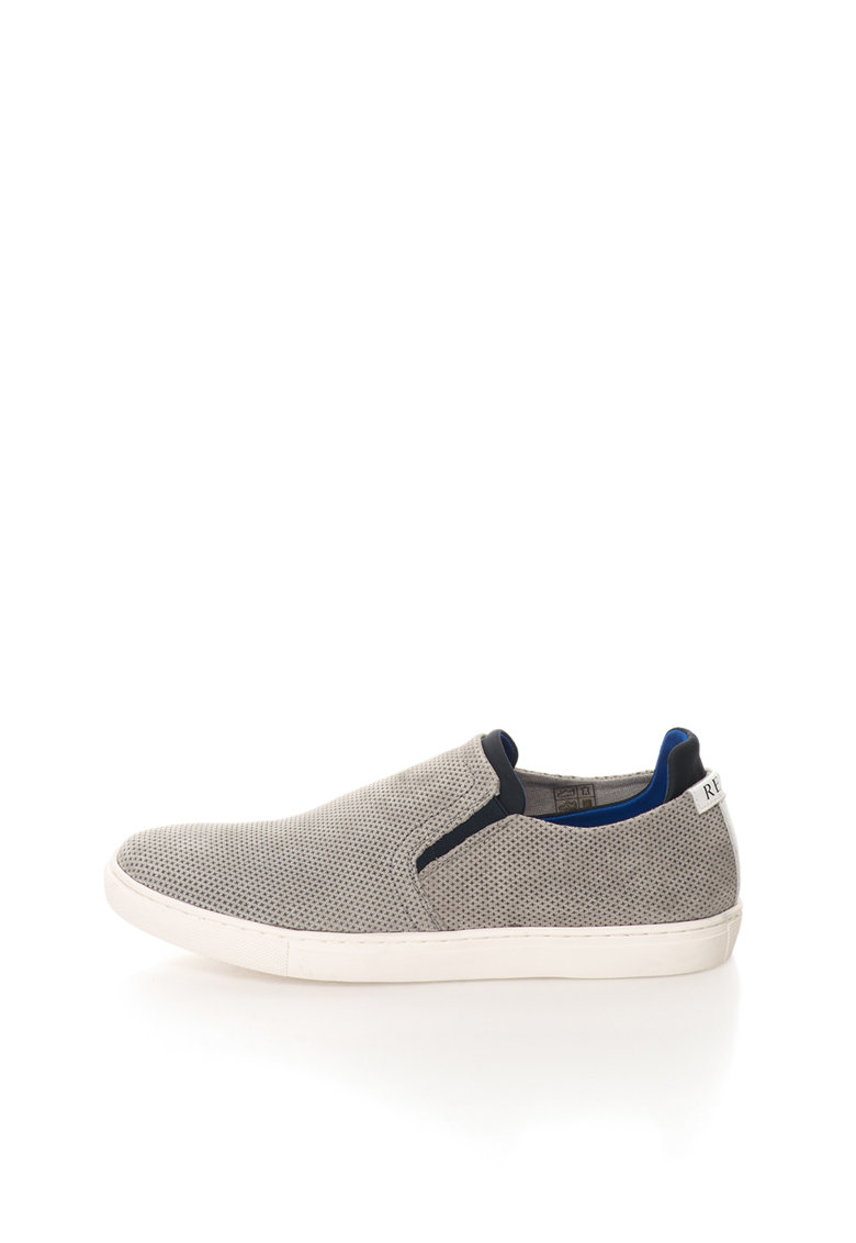 Replay Pantofi slip-on gri de piele nabuc Rolling